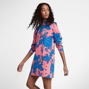 Nike Sportswear Long Sleeve Hooded Dress Tye Dye